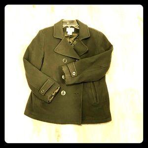 Olive green pea coat